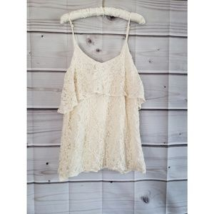 Tobi cream lace flowy tank top small nwt
